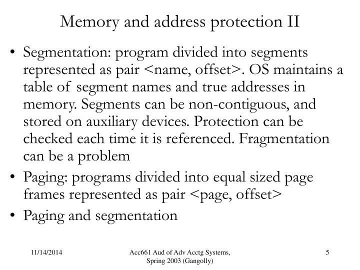Memory and address protection II