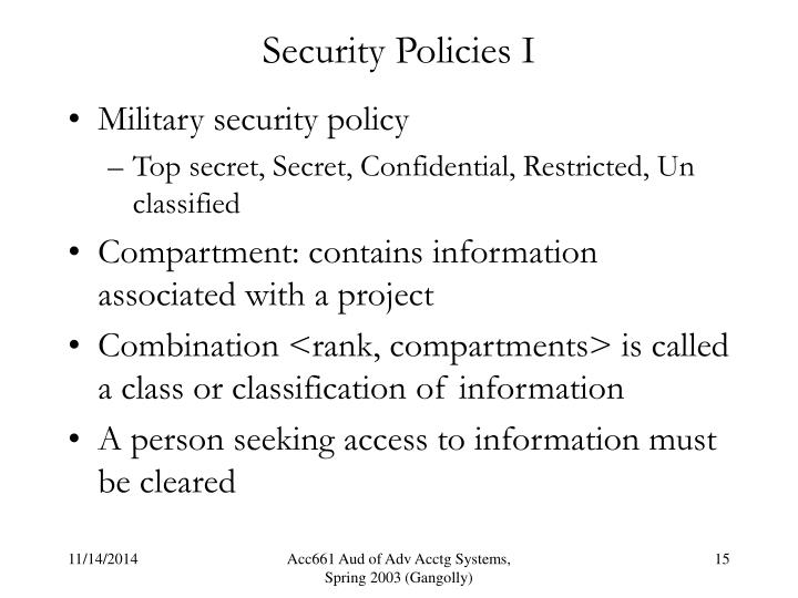 Security Policies I