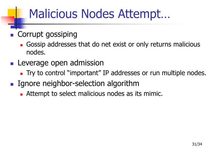 Malicious Nodes Attempt…
