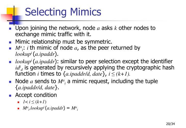Selecting Mimics