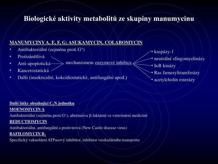 Biologick aktivity metabolit ze skupiny manumycinu