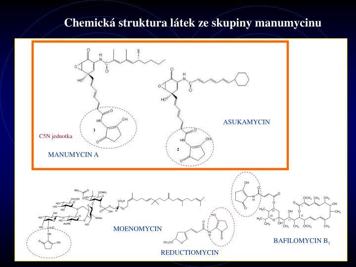 Chemick struktura l tek ze skupiny manumycinu
