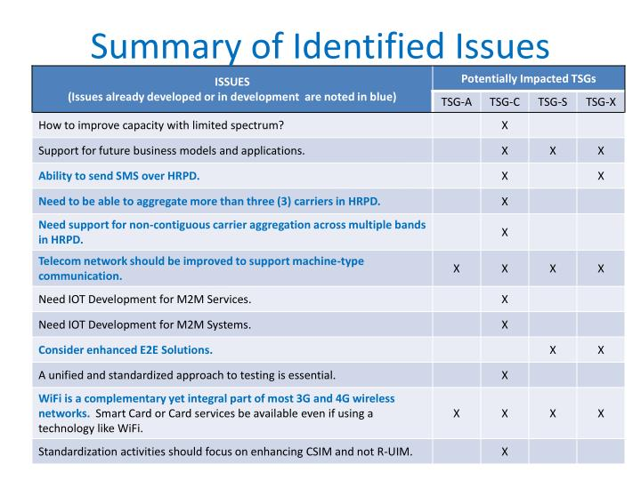 Summary of Identified Issues