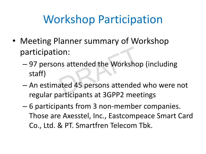 Workshop Participation
