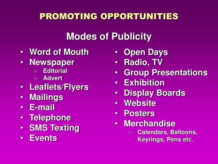 Promoting opportunities