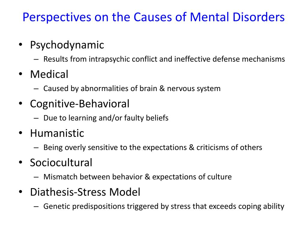 Ppt Perspectives On The Causes Of Mental Disorders Powerpoint