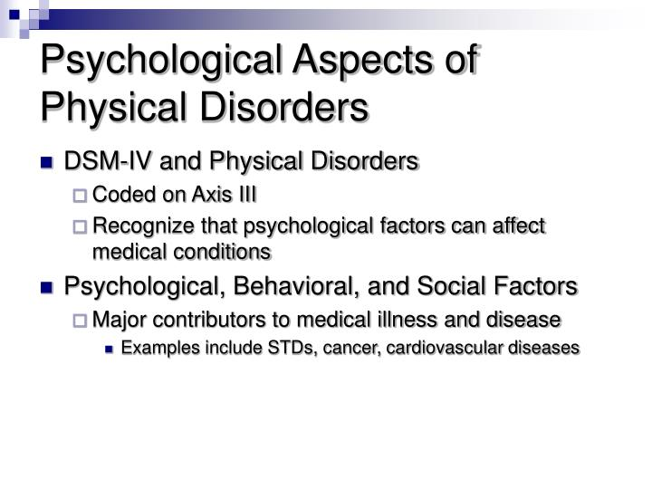 Ppt Psychological Aspects Of Physical Disorders Powerpoint
