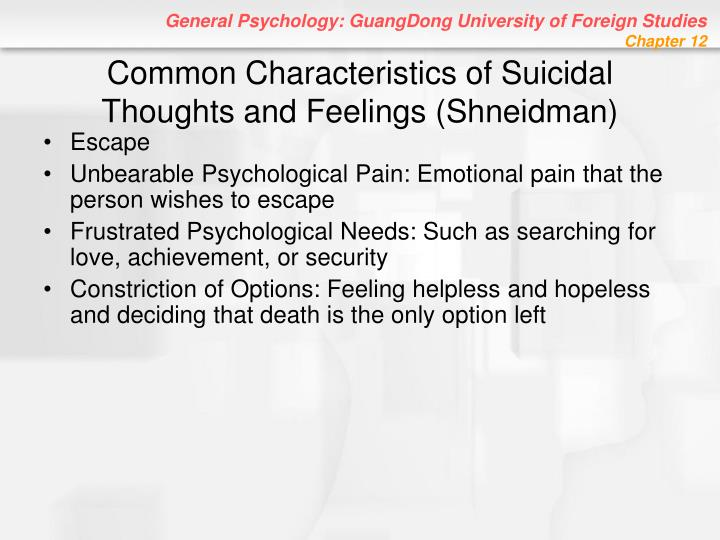 Common Characteristics of Suicidal Thoughts and Feelings (Shneidman)