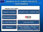 example of ec funded projects laos example