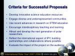 criteria for successful proposals