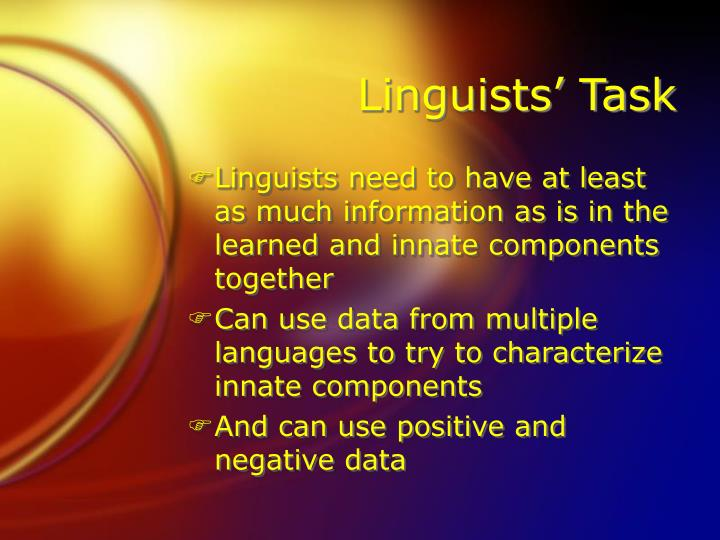 Linguists' Task