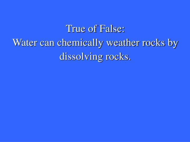 True of False: