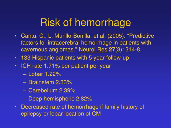 Risk of hemorrhage