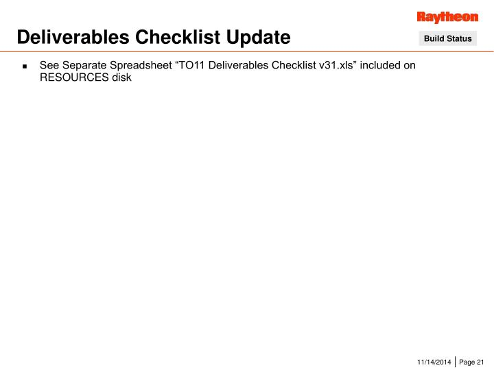 Deliverables Checklist Update