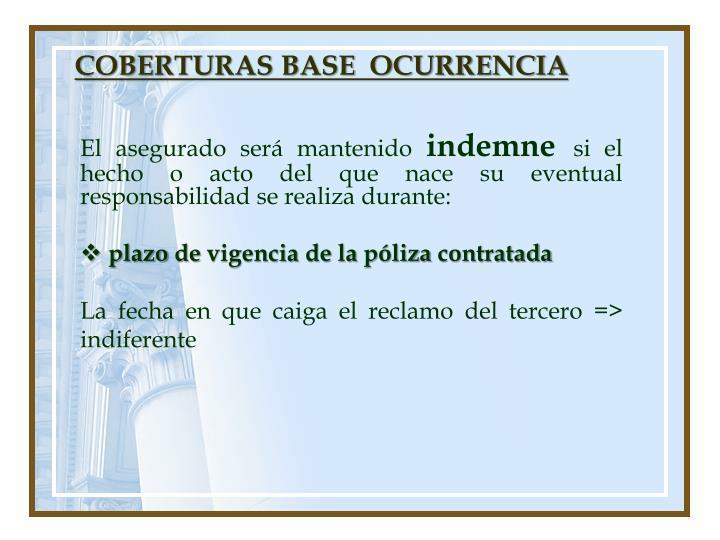 COBERTURAS BASE  OCURRENCIA