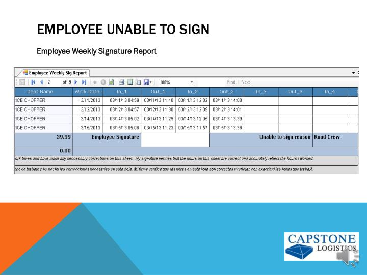 Employee unable to sign
