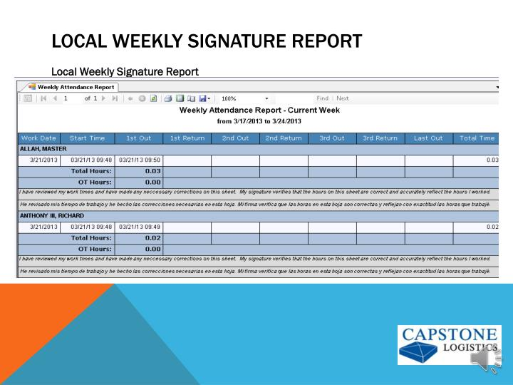 Local weekly Signature Report