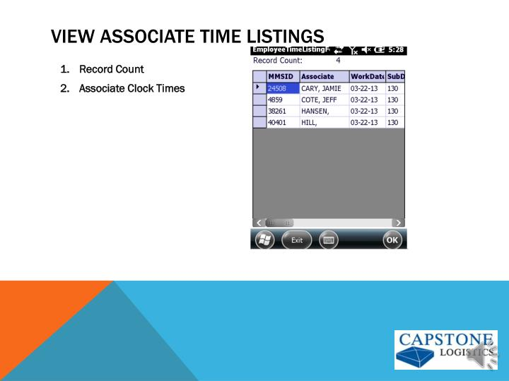 View associate Time Listings