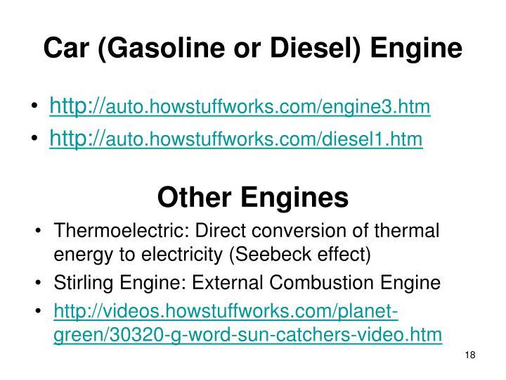 Car (Gasoline or Diesel) Engine