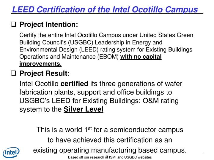 Ppt Intel Ocotillo Campus Leed For Existing Buildings Om Silver