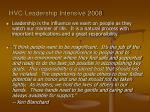 hvc leadership intensive 20081