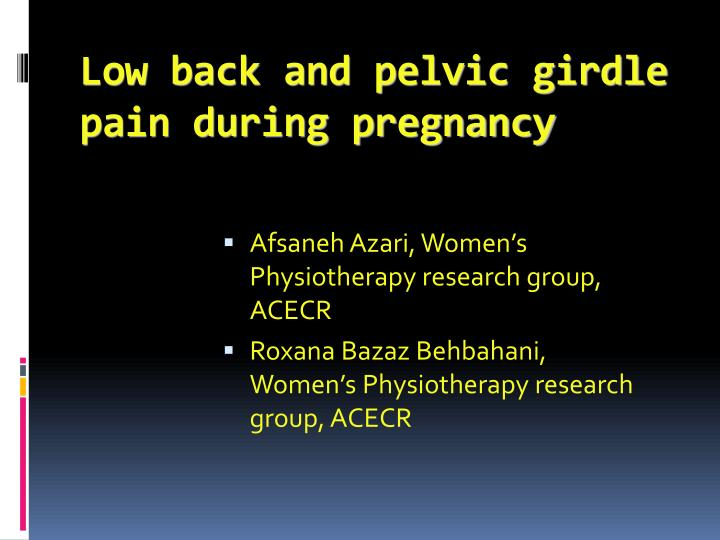 Pelvic girdle pain and low back in pregnancy a review
