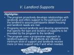 v landlord supports