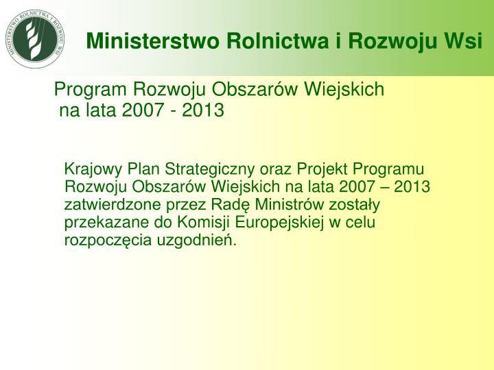 Program rozwoju obszar w wiejskich na lata 2007 2013