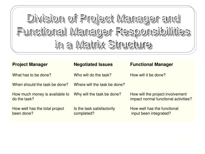 Division of Project Manager and Functional Manager Responsibilities in a Matrix Structure