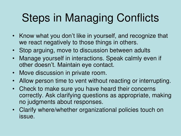 Steps in Managing Conflicts