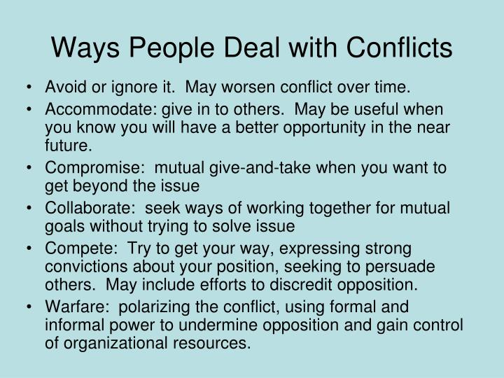 Ways People Deal with Conflicts