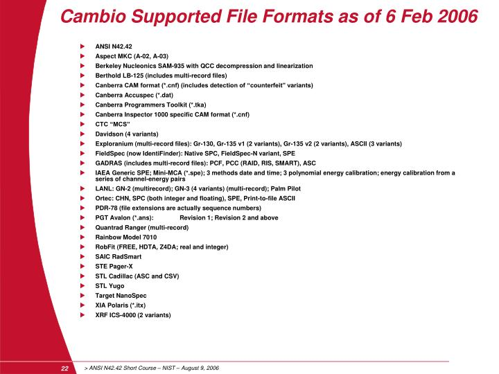 Cambio Supported File Formats as of 6 Feb 2006
