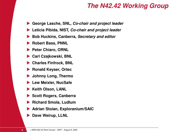 The N42.42 Working Group