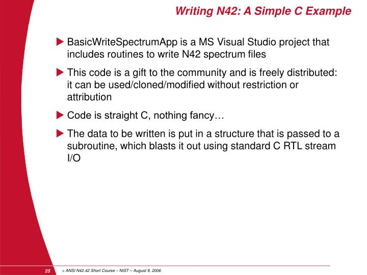 Writing N42: A Simple C Example