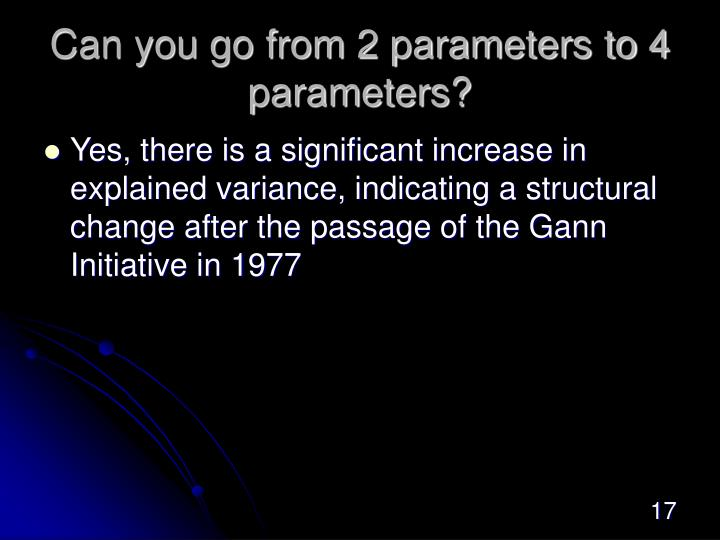 Can you go from 2 parameters to 4 parameters?