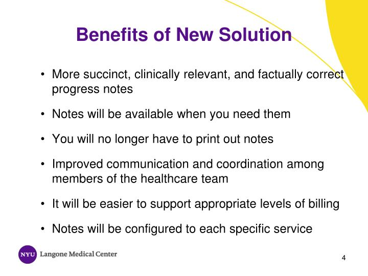 Benefits of New Solution