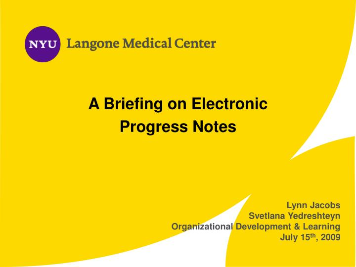 A Briefing on Electronic