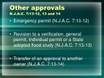 other approvals n j a c 7 13 12 13 and 14