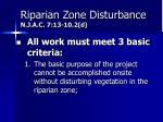 riparian zone disturbance n j a c 7 13 10 2 d