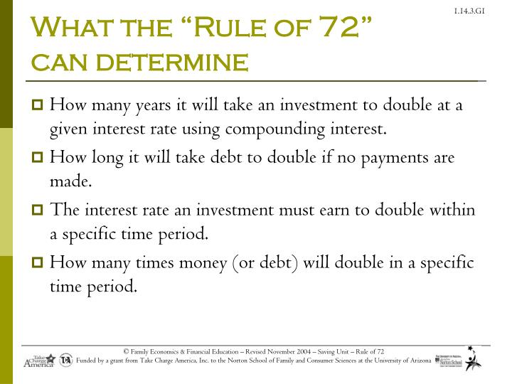 What the rule of 72 can determine