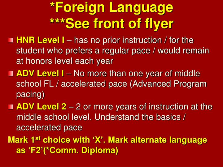 *Foreign Language