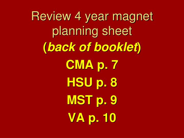 Review 4 year magnet planning sheet