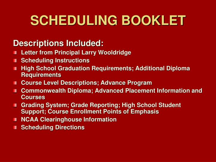 SCHEDULING BOOKLET