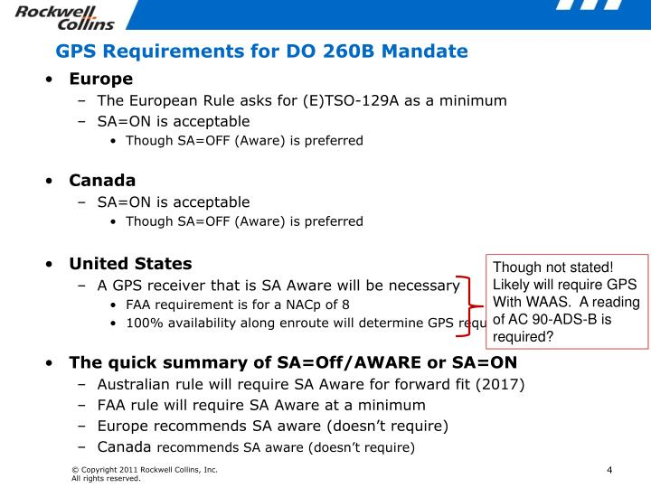 GPS Requirements for DO 260B Mandate