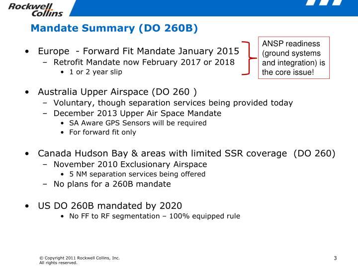 Mandate summary do 260b