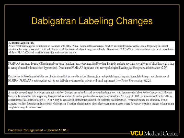 Dabigatran Labeling Changes