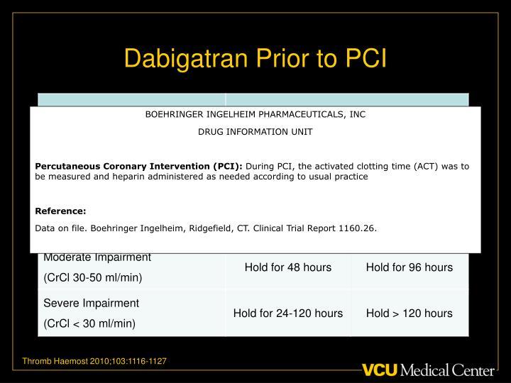 Dabigatran Prior to PCI
