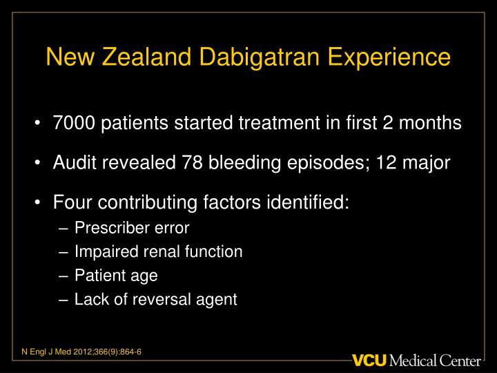 New Zealand Dabigatran Experience