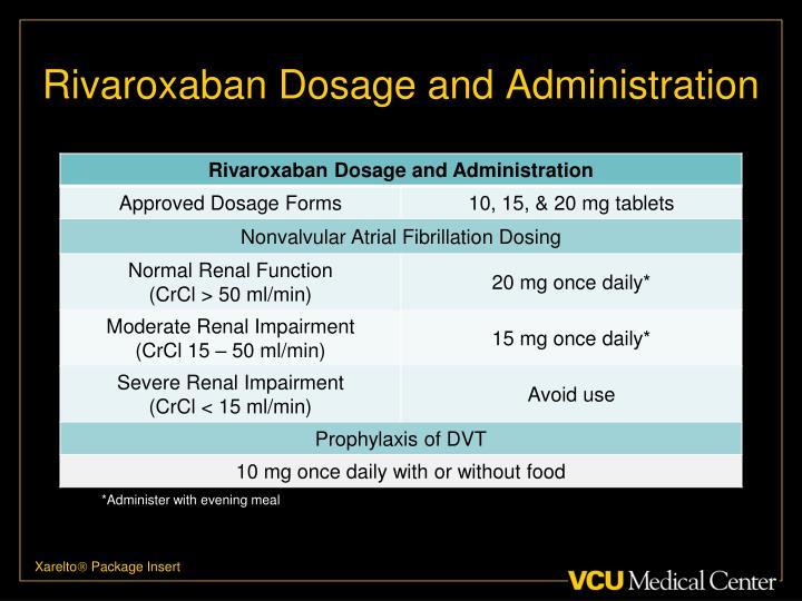 Rivaroxaban Dosage and Administration