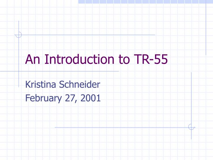 an introduction to tr 55 n.